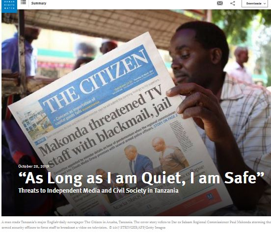 """""""As long as I am quiet, I am safe"""": Threats to independent media and civil society in Tanzania"""