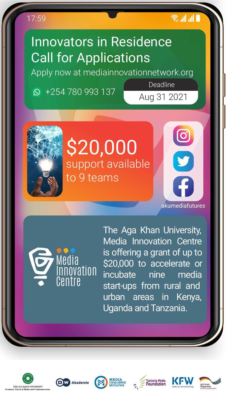 Call For Applications: Innovators-in-Residence Program 2021-2022